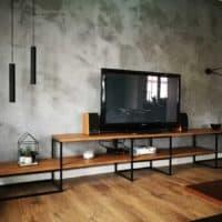 półka rtv, projektowanie mebli poznań, modele 3d mebli, wizualizacje mieszkań, konstrukcje spawane, malowanie proszkowe, drewno, bejcowanie